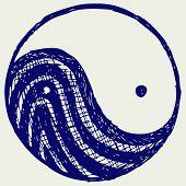 picture of ying-yang  - Ying yang sketch symbol - JPG