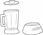 foto of blender  - Cartoon outlined set of blender parts over white - JPG
