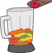 stock photo of blender  - Blender jar being filled with tomato and fruit - JPG