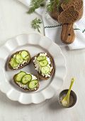 stock photo of spreader  - Sandwich With Fresh Cream Cheese - JPG