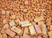 stock photo of brick block  - Broken bricks backgrounds block brickbat brickmaking brickwork building - JPG
