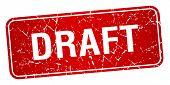 picture of draft  - draft red square grunge textured isolated stamp - JPG
