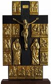 image of crucifix  - Oak Crest with a bronze Crucifix and images of Christ - JPG