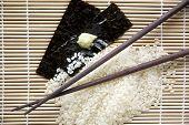 image of bamboo  - japanese rice and seaweed  on bamboo background - JPG