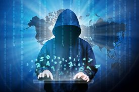 stock photo of hoods  - Computer hacker silhouette of hooded man with binary data and network security terms - JPG