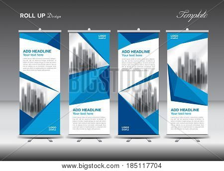 Blue Business Roll Up Banner Flat Design Template Polygon Background Stand Display Adver J
