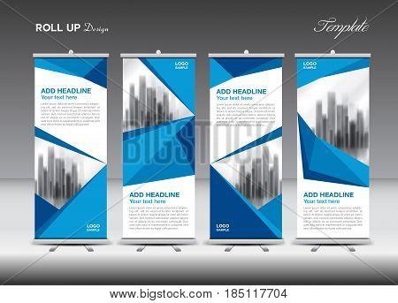Blue Business Roll Up Banner Flat Design Template Polygon