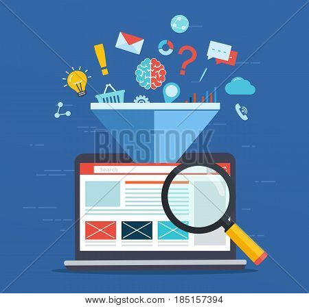 poster of Web site optimization, increasing the efficiency factor of SEO, business marketing technology, social media, search engine optimization.