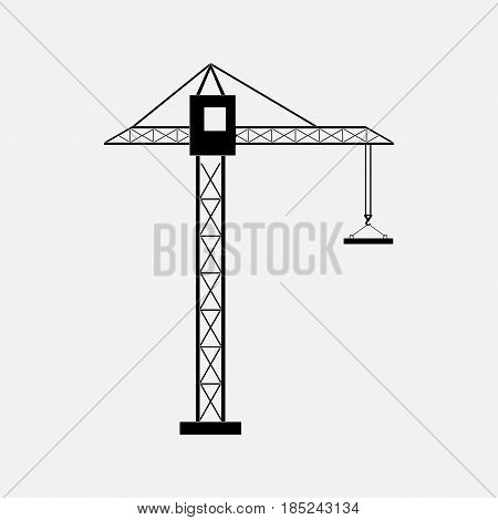 poster of silhouette of a construction crane construction of buildings the icon cranes tower cranes fully editable vector image