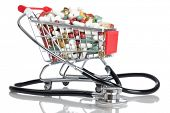 Einkaufswagen voll mit Pillen