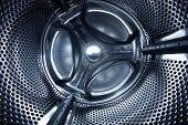 Inside view into a washing machine