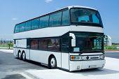 Double Decker White Tour Bus