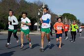 VALENCIA, SPAIN - JANUARY 10: Runners compete in the 10K Divina Pastora Valencia run on January 10,