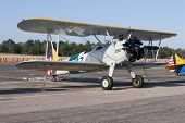 PALM COAST, FLORIDA - MARCH 27: A Bi-plane is on display at the Wings Over Flagler Air Show at the F