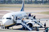 VALENCIA, SPAIN - MAY 26: Ryanair, an Irish airline, said Wednesday it will open its 42nd base at Barcelona El Prat airport in September 2010.  A Ryanair Aircraft on May 26, 2010 in Valencia, Spain.