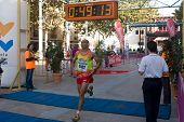 VALENCIA, SPAIN - OCTOBER 24: Hassane Ahouchar of Valencia wins first place in the XIII Gran Fondo de Manises 16.3 K run on October 24, 2010 in Valencia, Spain.