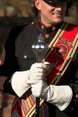 parris island marine corp drum major, editorial image