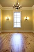empty elegant diningroom or bedroom with chandelier