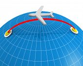 Airplane flying destination direction with globe background 3d illustration poster