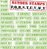 Collection of rubber stamps with words beginning with letter P,Q,R,S,T,U,V,W,Y. See other rubber sta