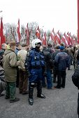 RIGS, LATVIA - MARCH 16: Commemoration of the Latvian Waffen SS unit or Legionnaires took place on March 16, 2009 in Rigs, Latvia.The event always draws crowds of nationalists and anti-fascists.