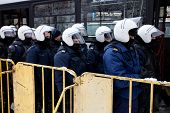 RIGA - MARCH 16: Riot police ready to prevent provocations at Commemoration of Latvian WaffenSS unit