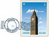 Postmark with night sight of London Big Ben tower