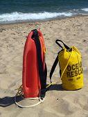 Ocean Rescue Gear Ready In Sand