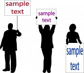 people with notices (vectors) add your own text
