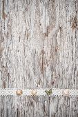 Shabby Chic Background With Seashells And Lace Fabric On Old Wood poster