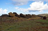 Toppled Statues On Easter Island
