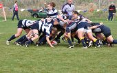 A Scrum In A Women's College Rugby Match
