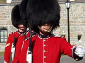 Three members of the Canadian Royal 22nd Regiment changing the guard at the Citadel in Old Quebec Ci