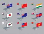 The flags of Australia, China, India, Japan, New Zealand, North Korea, South Korea, Taiwan, and Viet