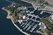 An aerial shot of Ontario Place in Toronto, Canada.