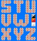 Color latin alphabet like cross pattern. Ukrainian design. Blue background. Part 3 of 3