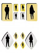 Vector buttons with man and woman