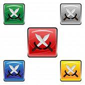 Square swords buttons