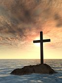 Concept or conceptual religious christian cross standing on rock in the sea or ocean over beautiful  poster