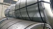 Steel Sheets Rolled Up Into Rolls. Export Steel. Packing Of Steel For Transportation poster