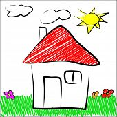 Children draw house
