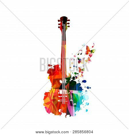 poster of Colorful Guitar With Music Notes Isolated Vector Illustration Design. Music Background. Music Instru