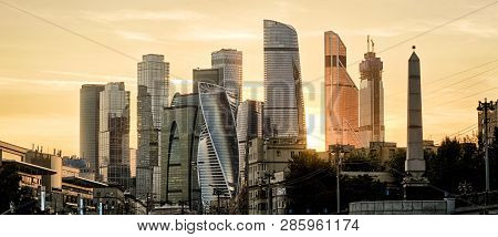 Panorama Of Moscow With Skyscrapers
