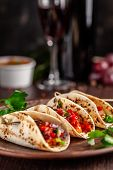 Concept Of Mexican Cuisine. Mexican Appetizer Tacos With Vegetables, Beans, Paprika, Chilli Peppers poster