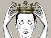 Woman holding above a head the golden crown. Leadership, success , queen. Female hands holding a cro poster