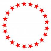 Red Star In Circle Icon On White Background. Flat Style. Red Star In Circle Icon For Your Web Site D poster