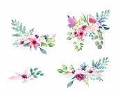 Collection Spring Wedding Romanric Watercolor Bouquet. Hand Drawing Watercolor Blue Pink And Purple  poster