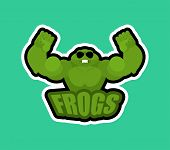 Frogs Sport Logo. Toad Sports Team Club Emblem. Toads Animal Mascot Gaming Sign. Strong Anuran Beast poster