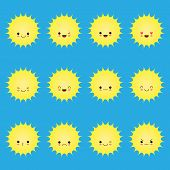 Smiling Sun Emoticons. Vector Cartoon Smile Sun Set. Cartoon Face Sun Illustration. Smiling Sun poster
