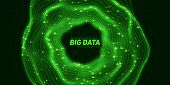 Big Data Green Circular Visualization. Futuristic Infographic. Information Aesthetic Design. Visual  poster